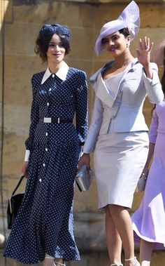 WINDSOR, ENGLAND - MAY (L-R)Abigail Spencer and Priyanka Chopra arrive at the wedding of Prince Harry to Ms Meghan Markle at St George's Chapel, Windsor Castle on May 2018 in Windsor, England. (Photo by Chris Jackson/Getty Images) Prince Harry Wedding, Harry And Meghan Wedding, Meghan Markle Wedding, Abigail Spencer, Amal Clooney, George Clooney, Priyanka Chopra, Gina Torres, Victoria Beckham