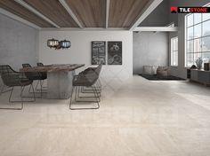 Travertin light verouderd travertin natuursteen vloer met warme tinten - Italiaanse imitatie vloertegel ...