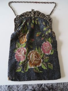 Large Roses Micro Beaded Purse w/ Art Nouveau Cameo Frame, needs TLC