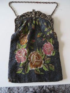 Large Roses Micro Beaded Purse w/ Art Nouveau Cameo Frame, needs TLC