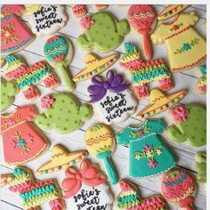"Morgan Romo on Instagram: ""Sofias big fiesta! . . . . . . #rolloutcookies #customcookies #decoratedcookies #fiesta #fiestacookies #fiestadresscookies #mexicandress…"""