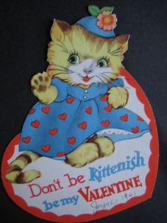 1941+vintage+greeting+card+diecut+Valentine+Kitten+in+Valentine+Dress+