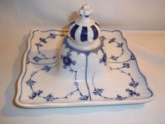 Royal Copenhagen Blue Fluted Candle Stick Holder Inkwell Dish