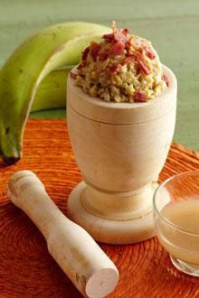 Try Plantain Mofongo instead of mashed potatoes for Thanksgiving! This recipe takes a lighter approach to traditional mofongo by boiling plantains in flavorful broth and topping with low-sodium bacon.