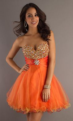 Short Orange Baby Doll Dress 1062 at PromGirl.com
