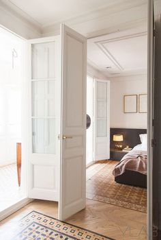 The Honest to Goodness Truth on Wood Door Design - Pecansthomedecor French Closet Doors, French Doors, Spanish Apartment, Door Design, House Design, Barcelona Apartment, Lisbon Apartment, Contemporary Bedroom Decor, Wood Front Doors