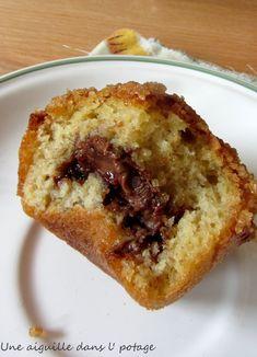 une aiguille dans l' potage: Muffins à la banane, coeur Nutella