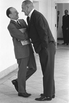 Lyndon Johnson laughs with Abe Fortas a day after nominating him to the Supreme Court, July 29, 1965. LBJ was known to invade personal space