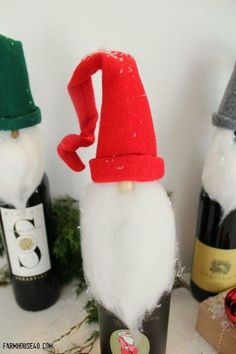 home for christmas elf bottle toppers, christmas decorations, crafts, seasonal holiday decor