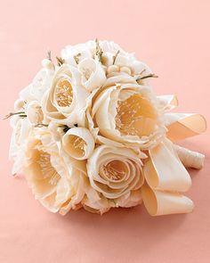 Flowers are Forever - Martha Stewart Weddings Brides bouquets - fabric bouquet Lace Bouquet, Fabric Bouquet, Flower Bouquet Wedding, Fabric Flowers, Floral Wedding, Diy Wedding, Wedding Ideas, Flower Bouquets, Bridal Bouquets
