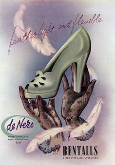 sisterwolf: Bentalls Shoes ad - Vogue Magazine, June 1949 via Moda Vintage, Style Vintage, Vintage Beauty, Vintage Shoes, Vintage Outfits, 1940s Style, Vintage Closet, Vintage Accessories, Vintage Dresses