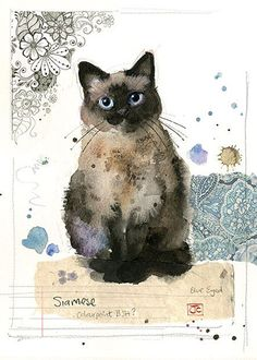 Make one special photo charms for your pets, 100% compatible with your Pandora bracelets.  Siamese Cat by Jane Crowther for Bug Art greeting cards.