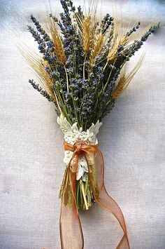 Double Brides Bouquet of Lavender and Wheat by paulajeansgarden