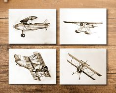 This aviation decor is the perfect touch for a nursery, kids room, an office anywhere else that needs a touch of vintage aviation. --Details---  ART : - Set of 4 prints - Original drawings were drawn by me in pencil - Drawings were digitized for prints - Printed beautiful thick white paper - Listing is for prints only no frame or matte included  SIZE : - Print is 4x6, 5x7, 8x10 or 11x14 - Please message me for other sizing options  PERSONALIZATION : - Select add a name from drop down menu…