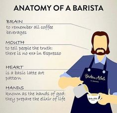 Anatomy of a barista. :)  We like it, what do you think of this?  Speaking of the barista, have you visited a coffee roasting facility before? Visit one virtually at @on.coffee.makers bio:)   @on.coffee.makers - Follow us, for more great coffee content and free coffee workshops.   📸 @dritanalsela Coffee Brewing Methods, Elixir Of Life, Coffee Latte Art, How To Make Coffee, Great Coffee, Coffee Roasting, Barista, Coffee Drinks, To Tell