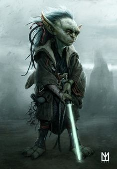 Yoda as a young Jedi master from the Star Wars universe by Marco Teixeira