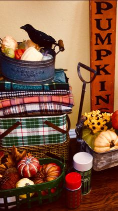 Plaid blankets, pumpkins and vintage plaid picnic baskets and thermoses part of my fall decor Picnic Decorations, Halloween Decorations, Early Autumn, Picnic Baskets, Diy Costumes, Picnics, Live Life, Pumpkins, Happy Halloween