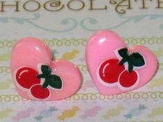 Pastel Pink Cherry And Heart Stud Earrings Kawaii by DIYArtMart