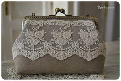 vintage purse with lace hand made Винтажный кошелек, бежевое кружево, ручная работа