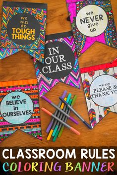 """Classroom Rules, Expectations and Beliefs Coloring Banner.  """"In Our Class"""" Bunting Classroom Management Decor!"""