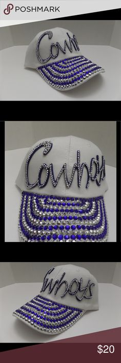 Cowboys White Baseball Cap Rhinestones Jeweled New ladies baseball cap that says Cowboys.  The cap is a one size fits most. Accessories Hats