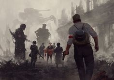 Warsaw 44, Jakub Rozalski on ArtStation at https://www.artstation.com/artwork/warsaw-44