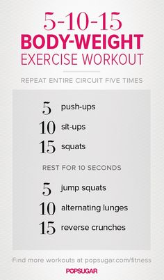 5-10-15 Body Weight Exercise Workout via Fit Sugar. And no jumping jacks! #weightlossmotivationbeforeandafter