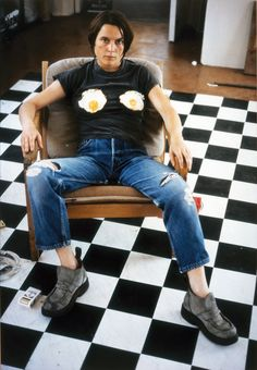 Sarah Lucas english artist included in the Young British Artists group.  Self-portrait with Fried Eggs 1996, Saatchi Gallery.  Contemporary-Art-Blog