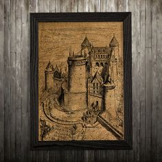 Castle print. Burlap poster. Antique decor. Victorian print.  PLEASE NOTE: this is not actual burlap, this is an art print, the image is printed on