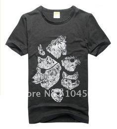 O Neck punk stamp short Sleeve cotton cool t shirts
