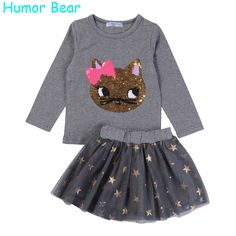 Awesome Humor Bear NEW Autumn Baby Girl Clothes Girls Clothing Sets Cartoon Sequins Cat Long Sleeve+Stars Skirt Casual 2PCS Girls Suits - $30.12 - Buy it Now!