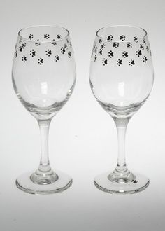 Paw Print Hand-Painted wine  glasses by Klando25 on Etsy