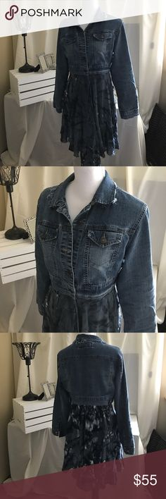 Up cycled denim jacket hobo style Size L upcycled denim jacket. One of my creations. Love this jacket, very comfy up to size 10. Distressed details on collar. Perfect for fall Star Jackets & Coats Jean Jackets