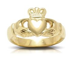 Yellow Gold Claddagh Ring  #claddagh #claddaghring #yellowgoldring #goldring #promiserings Yellow Gold Rings, Rose Gold, Gold Claddagh Ring, Promise Rings, Or Rose, Heart Ring, Custom Design, Jewels, How To Make
