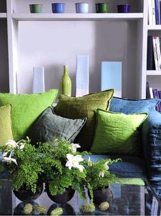 sofa, cousins en lin vert pantone 2017 greenery