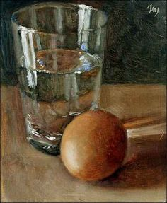 Egg with Glass of Water  Oil on card Painting status: SOLD  Daily painting for Friday 12 August, 2005