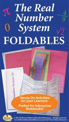 Engage your students with these Real Number System Foldables for students learning about the Number System! Great for interactive notebooks. 9th Grade Math, 12th Maths, School Resources, Teacher Resources, Hands On Activities, Learning Activities, Real Number System, Middle School, High School