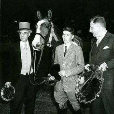 """Saw this great shot from back in the day of Trouble Maker and I in 1961 at the Garden when we won the AHSA and Maclay Finals. Big thanks to Marianne Taylor for posting it in the group Hunters & Jumpers: The First 100 Years! #ThrowbackThursday   """"I sold Stephanie (Steck) """"Trouble Maker"""" after my Medal/Maclay win with him in 1961. I was so proud to see both of them win the Medal (63) and immediately bought him back and retired him to grass. He died in his late 20's."""" ~ Bernie Traurig"""