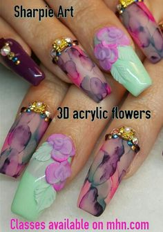 ♡You can learn how to create these sharpie art and 3d acrylic flowers on my online educational classes mindyhardynails.com