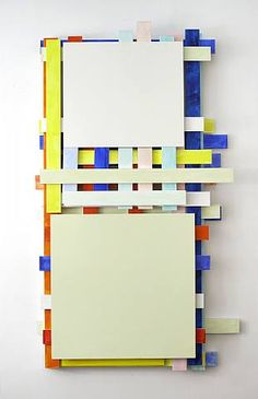 """Imi Knoebel is a German artist. Knoebel is known for his minimalist, abstract painting and sculpture. The """"Messerschnitt"""" or """"knife cuts,"""" are a recurring technique he employs, along with his regular use of the primary colors, red, yellow and blue"""