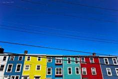 St. Johns – Newfoundland – Canada   So colourful, with a blue, blue sky!   TY Esma Zisan