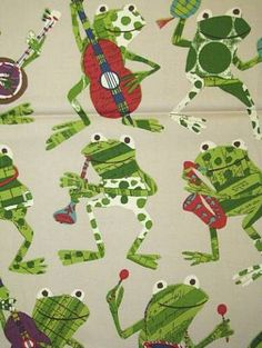 "Freddie Rocker  P. Kaufmann fabric 100% cotton fine line soft twill rockin frog fabric. 25"" repeat. 54"" wide"