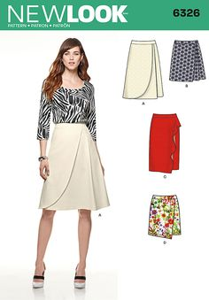 Sew a mock wrap skirt, perfect for a casual or dressy look. Be creative with New Look pattern 6326.