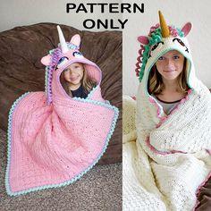 Crochet Hooded Unicorn Blanket Pattern PDF FILE