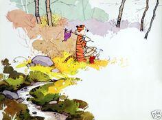 "Calvin and Hobbes Watercolor Poster Print 24 x 32"" | eBay"