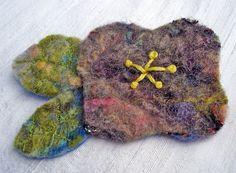Felted Purple Flower Pinback Brooch by eyespotdesigns on Etsy, $15.00
