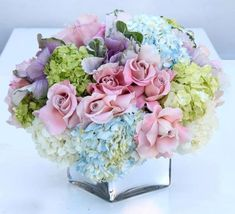 Pastel Roses And Hydrangeas - Glendale Florist