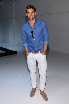 50ee425b3de0 Johannes Huebl wearing Blue Long Sleeve Shirt, White Jeans, Grey Suede  Loafers, No Show Socks