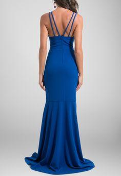 Vestido longo modelagem sereia e alças strappy azul bic Unity7 - powerlook