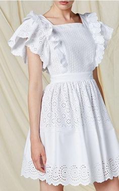 Embroidered Poplin Mini Length Dress from Moda Operandi. Shop more products from Moda Operandi on Wanelo. Vestido Casual, Little White Dresses, Pretty Dresses, Designer Dresses, Lace Dress, Ideias Fashion, Fashion Dresses, Flower Girl Dresses, Gowns